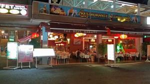 Restaurants in het Yumbo shopping center in Playa del Ingles